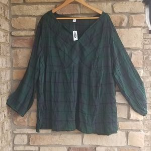 Old Navy Plaid Top sz 3X NWT